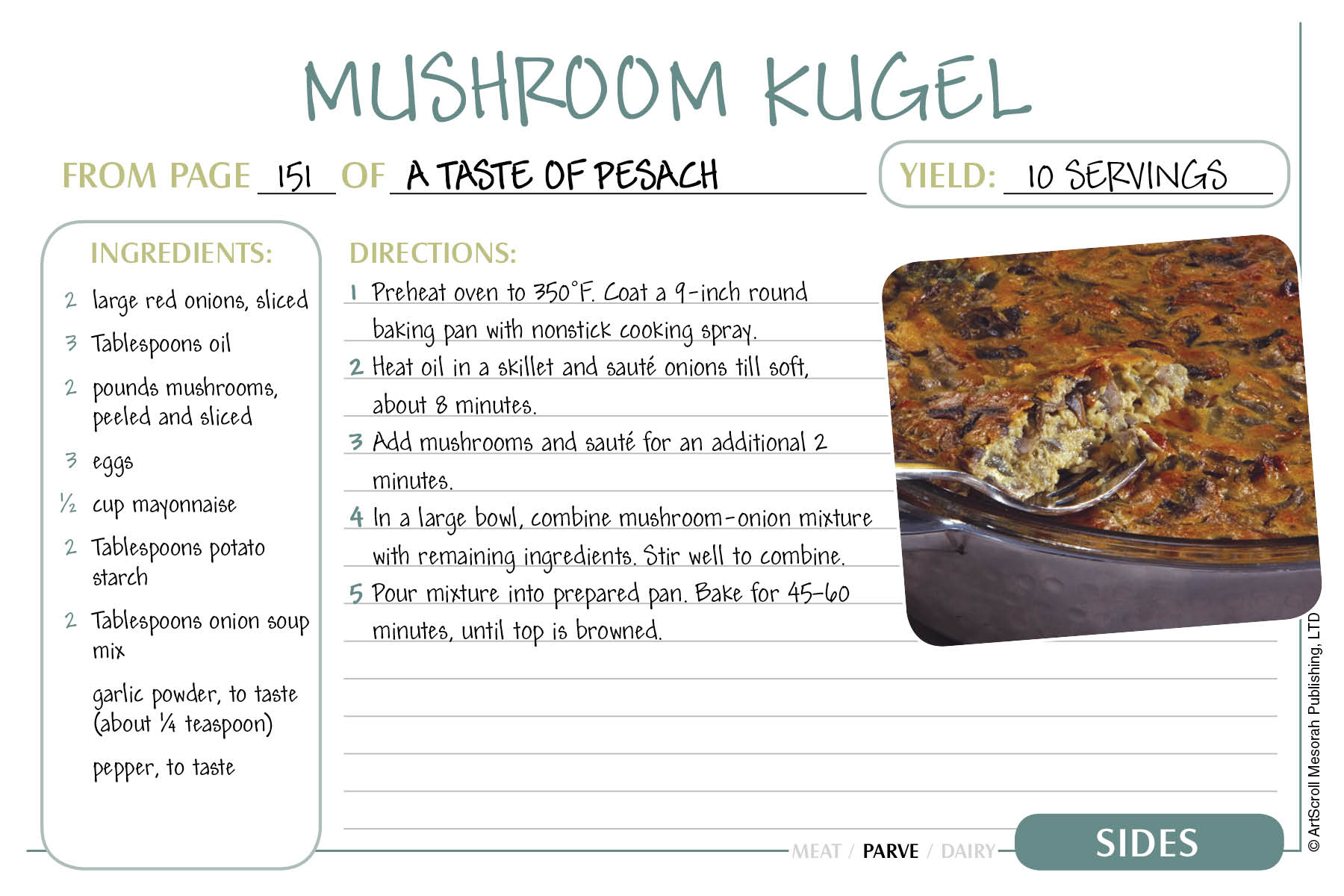 free passover recipe cards download